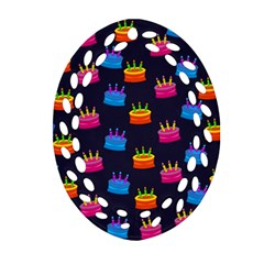 A Tilable Birthday Cake Party Background Ornament (Oval Filigree)