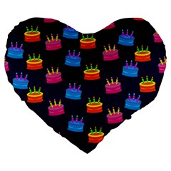 A Tilable Birthday Cake Party Background Large 19  Premium Heart Shape Cushions
