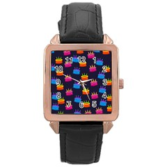A Tilable Birthday Cake Party Background Rose Gold Leather Watch