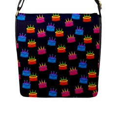 A Tilable Birthday Cake Party Background Flap Messenger Bag (L)