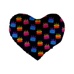 A Tilable Birthday Cake Party Background Standard 16  Premium Flano Heart Shape Cushions