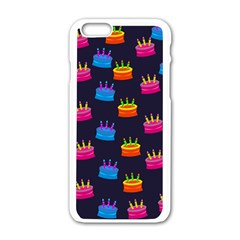 A Tilable Birthday Cake Party Background Apple iPhone 6/6S White Enamel Case
