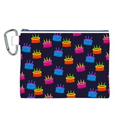 A Tilable Birthday Cake Party Background Canvas Cosmetic Bag (l)