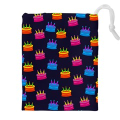 A Tilable Birthday Cake Party Background Drawstring Pouches (xxl)