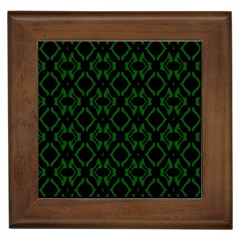 Green Black Pattern Abstract Framed Tiles