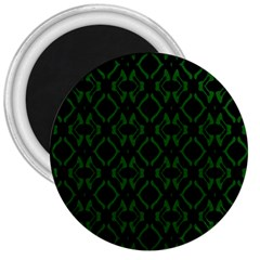 Green Black Pattern Abstract 3  Magnets