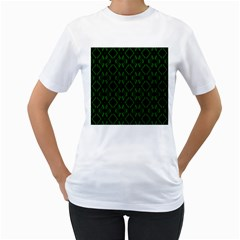 Green Black Pattern Abstract Women s T-Shirt (White) (Two Sided)