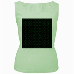 Green Black Pattern Abstract Women s Green Tank Top