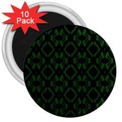 Green Black Pattern Abstract 3  Magnets (10 Pack)