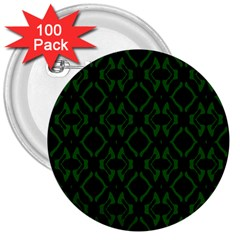 Green Black Pattern Abstract 3  Buttons (100 pack)