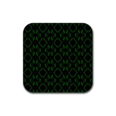 Green Black Pattern Abstract Rubber Square Coaster (4 pack)