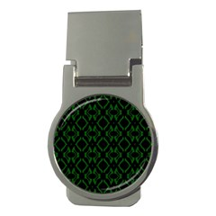 Green Black Pattern Abstract Money Clips (round)