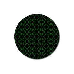 Green Black Pattern Abstract Magnet 3  (Round)