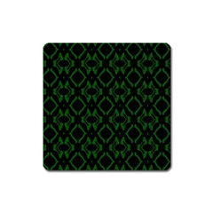 Green Black Pattern Abstract Square Magnet