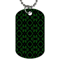 Green Black Pattern Abstract Dog Tag (two Sides)