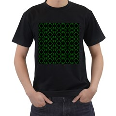 Green Black Pattern Abstract Men s T Shirt (black) (two Sided)