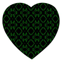 Green Black Pattern Abstract Jigsaw Puzzle (heart)