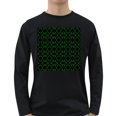 Green Black Pattern Abstract Long Sleeve Dark T-Shirts