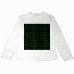 Green Black Pattern Abstract Kids Long Sleeve T Shirts