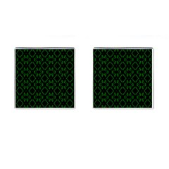 Green Black Pattern Abstract Cufflinks (Square)