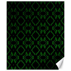 Green Black Pattern Abstract Canvas 8  x 10