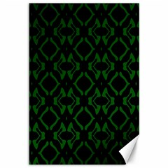 Green Black Pattern Abstract Canvas 12  x 18
