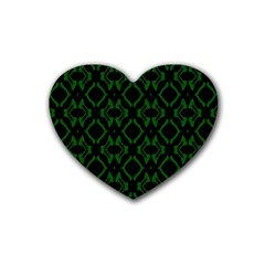 Green Black Pattern Abstract Rubber Coaster (Heart)