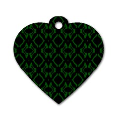 Green Black Pattern Abstract Dog Tag Heart (Two Sides)