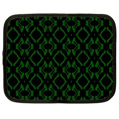 Green Black Pattern Abstract Netbook Case (Large)