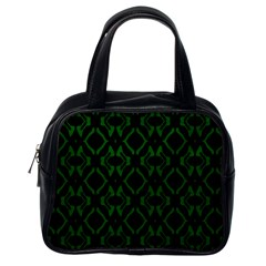 Green Black Pattern Abstract Classic Handbags (one Side)