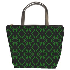 Green Black Pattern Abstract Bucket Bags