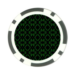 Green Black Pattern Abstract Poker Chip Card Guard (10 Pack)