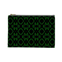 Green Black Pattern Abstract Cosmetic Bag (Large)