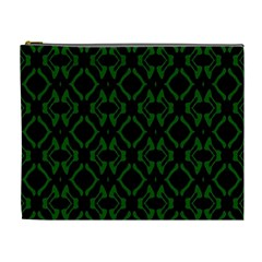 Green Black Pattern Abstract Cosmetic Bag (XL)