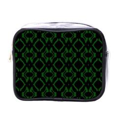 Green Black Pattern Abstract Mini Toiletries Bags