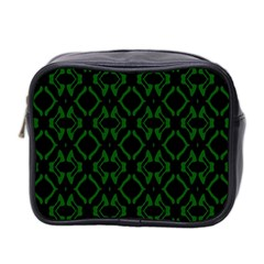 Green Black Pattern Abstract Mini Toiletries Bag 2 Side