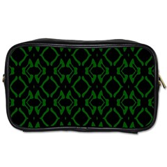 Green Black Pattern Abstract Toiletries Bags