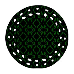 Green Black Pattern Abstract Round Filigree Ornament (two Sides)