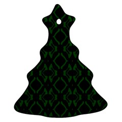 Green Black Pattern Abstract Christmas Tree Ornament (two Sides)