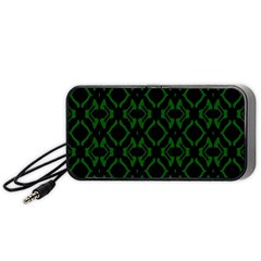 Green Black Pattern Abstract Portable Speaker (Black)