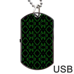 Green Black Pattern Abstract Dog Tag USB Flash (Two Sides)