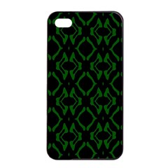 Green Black Pattern Abstract Apple iPhone 4/4s Seamless Case (Black)