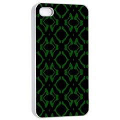 Green Black Pattern Abstract Apple iPhone 4/4s Seamless Case (White)
