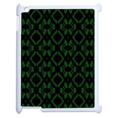 Green Black Pattern Abstract Apple iPad 2 Case (White)