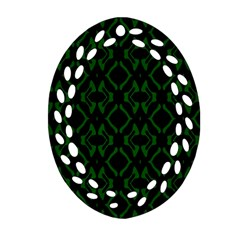 Green Black Pattern Abstract Ornament (Oval Filigree)