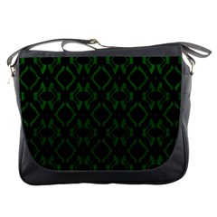 Green Black Pattern Abstract Messenger Bags