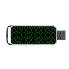 Green Black Pattern Abstract Portable USB Flash (One Side)