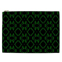 Green Black Pattern Abstract Cosmetic Bag (XXL)