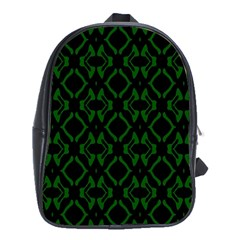 Green Black Pattern Abstract School Bags (xl)