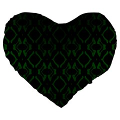 Green Black Pattern Abstract Large 19  Premium Heart Shape Cushions